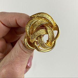 Vintage Goldtone Knot Rose Brooch
